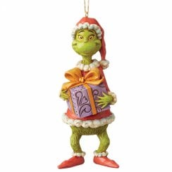 Grinch Holding Present Hanging Ornament