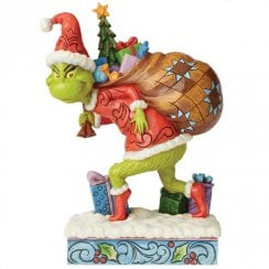 Grinch Tip Toeing With Bag Of Gifts Figurine