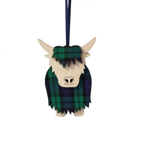 Artcuts Hamish the Highland Cow Black Watch Hanging Decoration