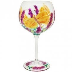 Hand Painted Butterfly Flower Gin Glass