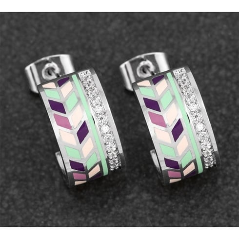 Equilibrium Handpainted Chevron Pave Ring Earrings
