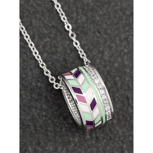 Equilibrium Handpainted Chevron Pave Ring Necklace
