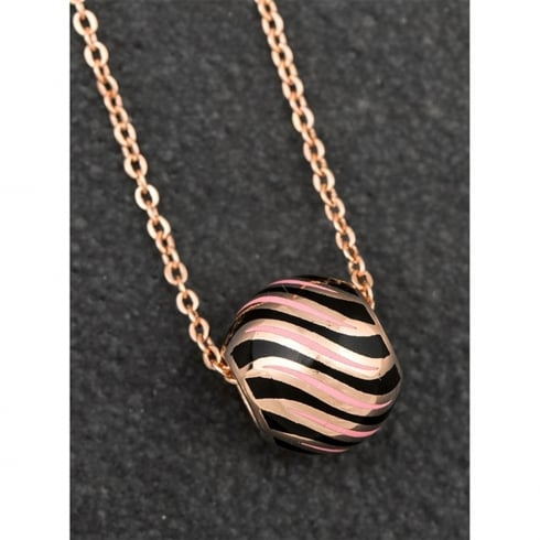 Equilibrium Handpainted Pink & Black Striped Ball Necklace