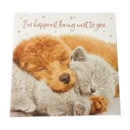 Happiest Next To You Puppy & Kitten Valentines Day Card SVHI030