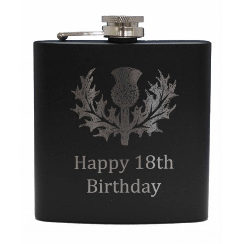 Art Pewter Happy 18th (with Thistle) engraved Black 6oz Hip Flask Box Set