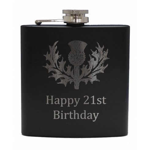 Art Pewter Happy 21st (with Thistle) engraved Black 6oz Hip Flask Box Set