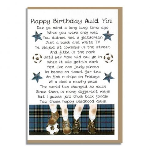 Embroidered Originals Happy Birthday Auld Yin! Scottish Memories Male Card