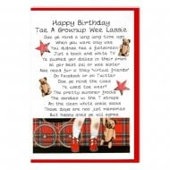 Happy Birthday Grownup Wee Lassie Female Card