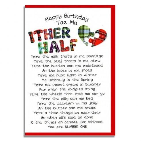 Embroidered Originals Happy Birthday Tae Ma Ither Half Scottish Card BD54