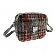 Harris Tweed Almond Mini Bag In Grey Red Tartan LB1210-COL96