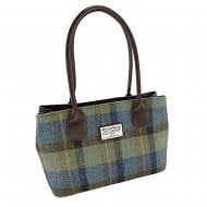Harris Tweed Classic Bag - Cassley - Beige/Blue Tartan
