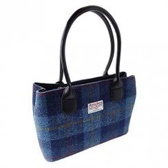 Harris Tweed Classic Bag - Cassley - Dark Blue Tartan