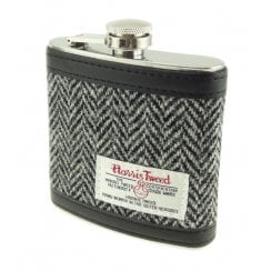 Harris Tweed Hip Flask - Black/White Herringbone