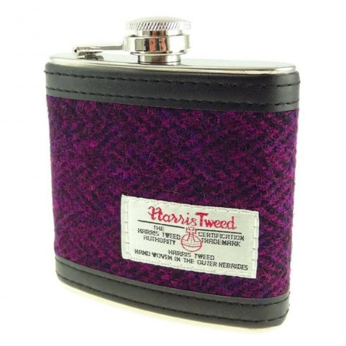 Glen Appin of Scotland Harris Tweed Hip Flask - Burgundy Herringbone
