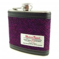 Harris Tweed Hip Flask - Burgundy Herringbone