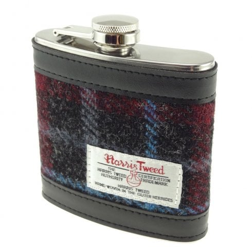 Glen Appin of Scotland Harris Tweed Hip Flask - Charcoal Check/Blue Line