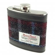 Harris Tweed Hip Flask - Charcoal Check/Blue Line