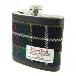Harris Tweed Hip Flask - Dark Green Tartan