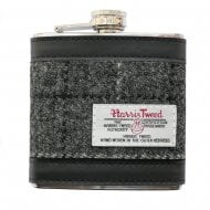 Harris Tweed Hip Flask - Grey Check