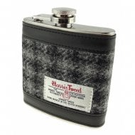 Harris Tweed Hip Flask - Grey Dogtooth