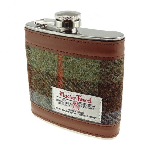 Glen Appin of Scotland Harris Tweed Hip Flask - Gunn Tartan
