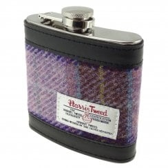 Harris Tweed Hip Flask - Pink/Lilac Check