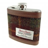 Harris Tweed Hip Flask - Rust Check