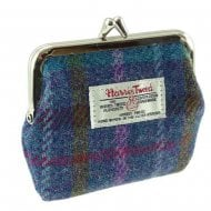 Harris Tweed Small Clasp Purse - Eigg - Purple Multi Check