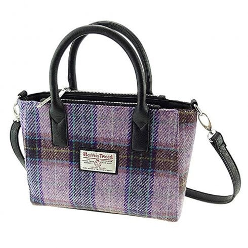 Glen Appin of Scotland Harris Tweed Small Tote - Brora - Pink/Lilac Check