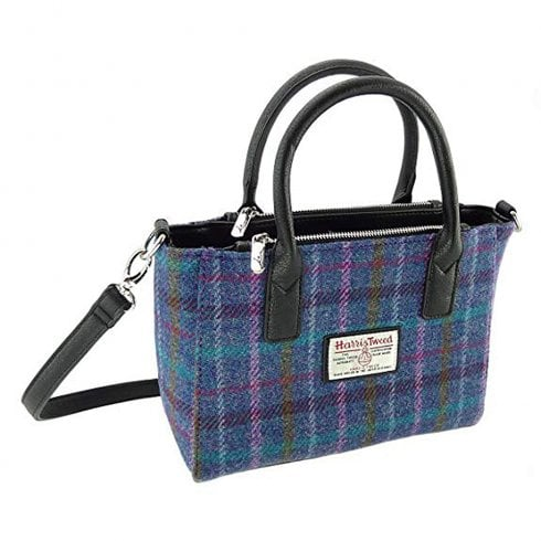 Glen Appin of Scotland Harris Tweed Small Tote - Brora - Purple Multi Check