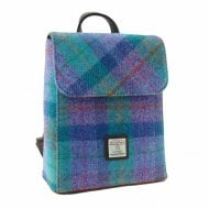 Harris Tweed Tummel Mini Backpack in Green & Purple Check LB1213-COL79