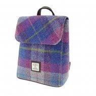 Harris Tweed Tummel Mini Backpack in Purple/Pink Tartan LB1213-COL47