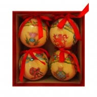 Hat Box Of Four Scottish Weave Gloss Baubles