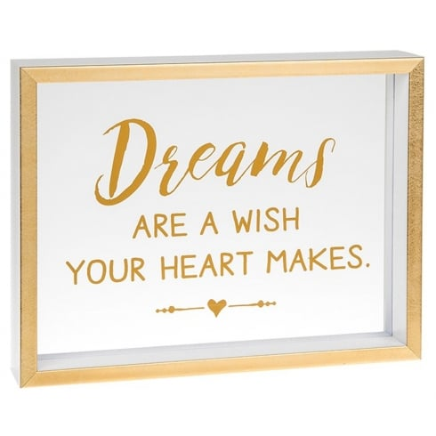 Shudehill Giftware Heartfelt Sentiments Dreams Are A Wish Your Heart Makes Freestanding Plaque