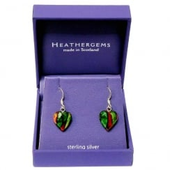 Heather Heart Silver Plated Drop Earrings