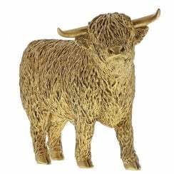 Highland Bull Gold Cow Figurine