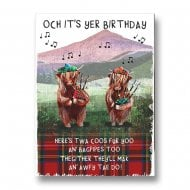 Highland Coos With Bagpipes Birthday Card