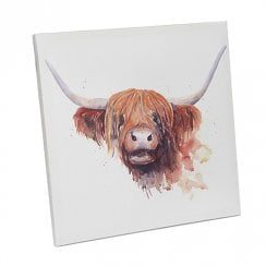 Highland Cow Canvas Plaque