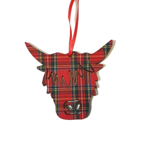 Artcuts Highland Cow Head Royal Stewart Hanging Decoration