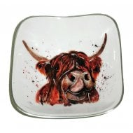 Highland Cow Square Bowl 16cm