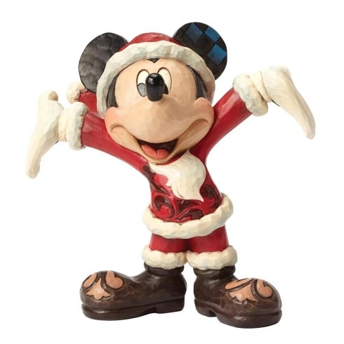 Disney Traditions Holiday Gift Santa Mickey Mouse Figurine