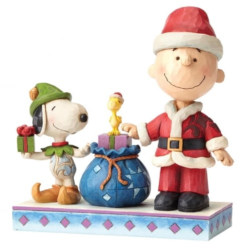 Jim Shore - Peanuts Holiday Helpers Charlie Brown and Snoopy Figurine