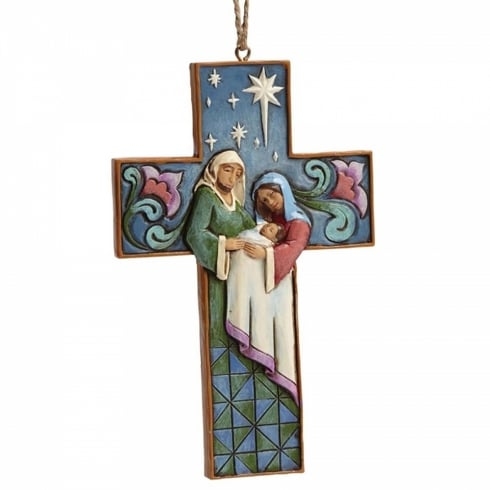 Jim Shore Heartwood Creek Holy Family Scene Cross Hanging Ornament