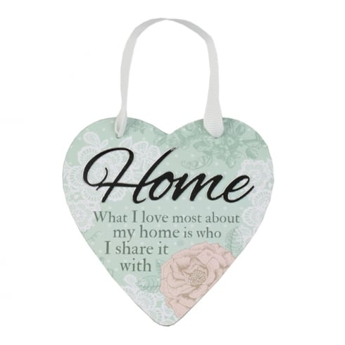 Reflective Words Home Hanging Heart