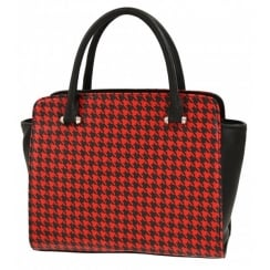 Houndtooth Print Grab Red
