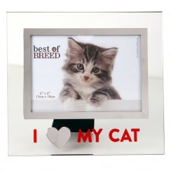 I Love My Cat Glass Photo Frame