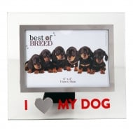 I Love My Dog Glass Photo Frame
