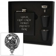 Innes Clan Crest Black 6oz Hip Flask Box Set