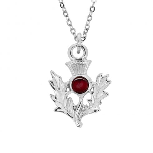 Art Pewter January Garnet Birthstone Thistle Pendant