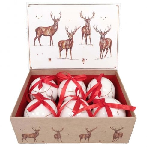 Leonardo Collection Jennifer Rose Gallery Stags Set of Six Baubles